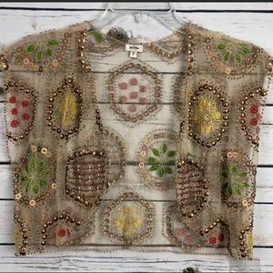 Moyna sheer Anthropologie size small beaded vest